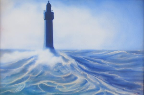 Painting of lighthouse surrounded by waves