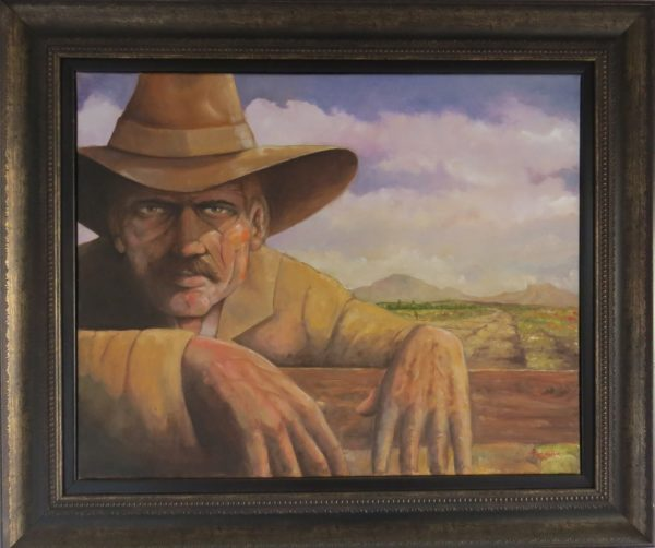 Painting of farmer leaning over fence