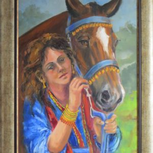 Painting of woman by horse