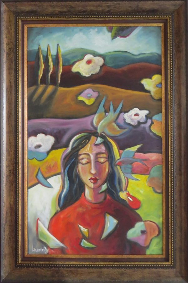 Colourful painting of a woman and birds