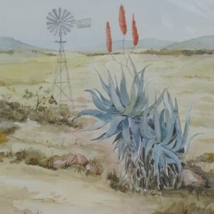 Painting of Karoo landscape with aloes