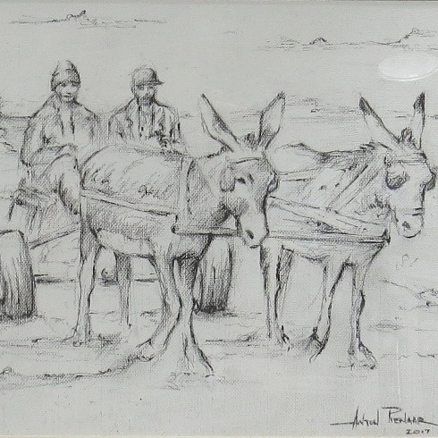 Pen and pencil sketch of donkey cart