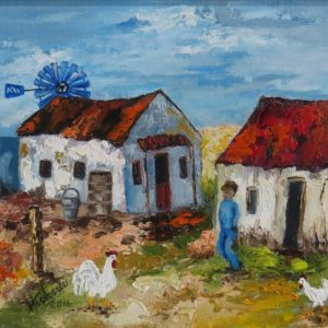 Painting of rural landscape with figures and houses