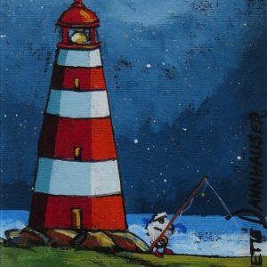 Painting of lighthouse and sheep fishing