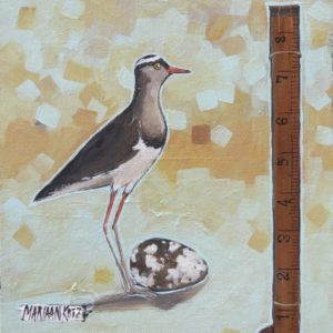 Painting of bird and measuring tape