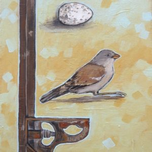 Painting of bird and straight edge