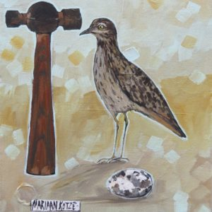 Painting of bird and hammer