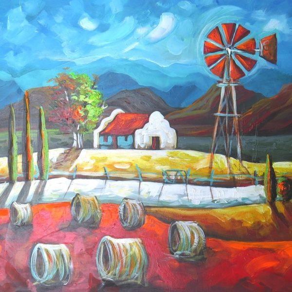 Painting of farm landscape