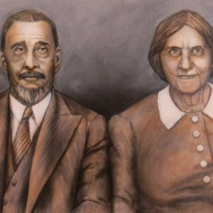 Painting of man and woman - old photograph style