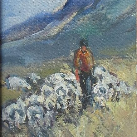 Painting of shepherd with sheep
