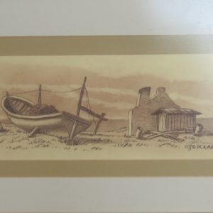Pastel sketch of fishing boat and cottage