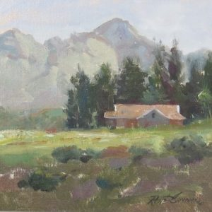 Painting of mountain lanscape with house
