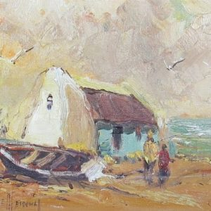 Painting of fisherman's cottage and boat by the sea