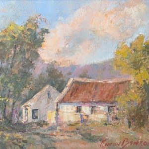 Painting of landscape with cottages