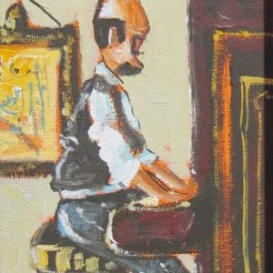 Painting of man playing piano