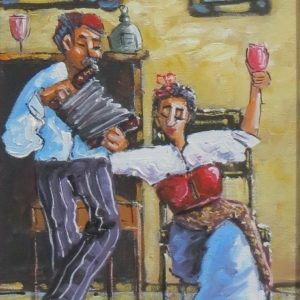 Painting of man playing an accordion and a woman with glass of wine