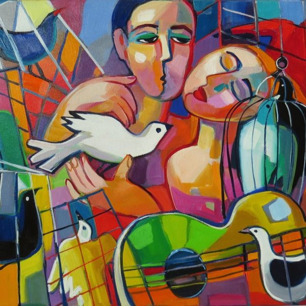Abstract painting with man, woman and birds in cages