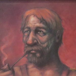 Painting of man smoking a pipe