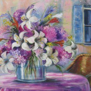 Painting of flowers in vase