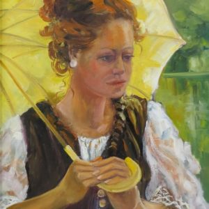 Painting of woman with yellow umbrella