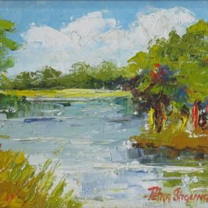 Painting of river landscape