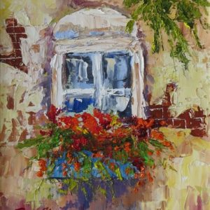 Painting of window with flowers in front