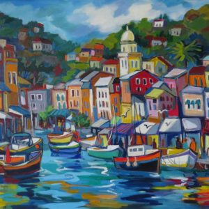 Painting of boats by seaside town