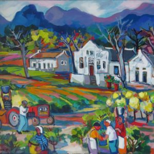 Painting of Cape winelands