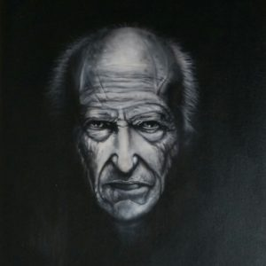 Portrait painting of old man in black and white