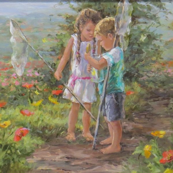 Painting of children with butterfly nets and a bottle